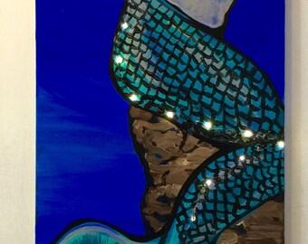 "Light up Mermaid Ready to hang 12""x24"""