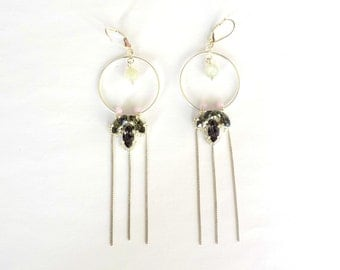 Silver earrings with moon stone and crystal stones
