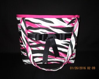 Grey pink and black Zebra print Handbag