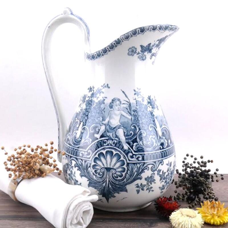 Bathroom Jug antique jug - sarreguemines pitcher neptune 19th century - french