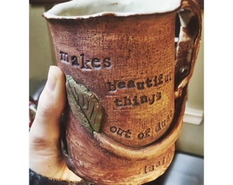 BEAUTIFUL THINGS Stoneware Mug, Encouraging Mug, Large Mug, One of a Kind, Gungor Mug, Useful Art, Religious, Spiritual, Brown, Green