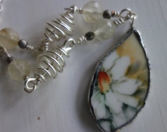 Broken china jewelry - broken china pendant necklace- daisy pendant with handmade wire wrapped beads- daisy necklace