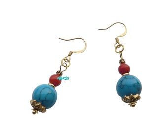 Earrings with turquoise, coral and gold
