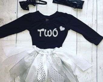2nd birthday outfit-silver birthday outfit-girl birthday outfit-birthday girl outfit-silver 2nd birthday outfit-silver tutu-birthday tutu