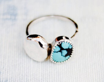 Southwestern Turquoise Bubble Ring - Sterling Silver