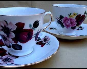 2 Queen Anne Teacups...#8289 and #8302...Shabby Chic Rose Fans This One's For You!