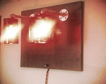 Handmade wall hanging light.