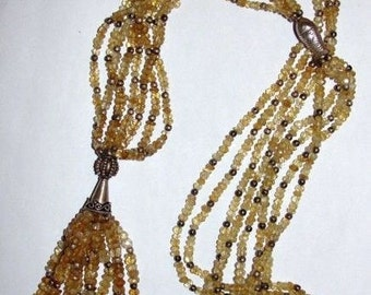 Massive Runway Citrine Faceted Bead & Sterling Silver Tassel Necklace