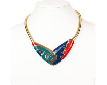 Aztec-Style Snake Chain Bib Necklace