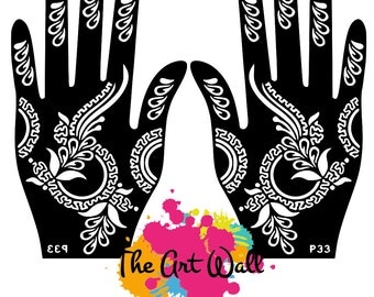2 Hands 3 Circles Stencils for Henna and Glitter temporary tattoo body art