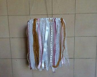 pink gold nursery mobile/ custom mobile,girl baby mobile , blush gold Baby shower gift, baby crib mobile, ribbon mobile, wedding mobile