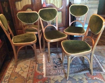 Set of Five  Thonet Art Nouveau Bentwood Chairs