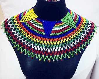 Extra large Zulu beaded web bib necklace