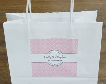 14 Colors-Wedding Welcome Bag WITH Custom Labels, Wedding Favor, Hotel Welcome Bag, Favor, Hotel Wedding Guest Bag, Out of Town Guest Bag