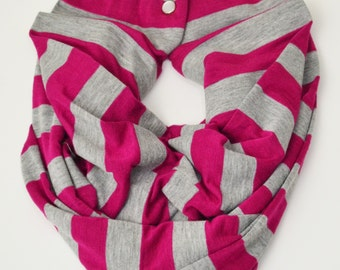 Grey/Pink Stripe Toddler Infinity Scarf With Snaps
