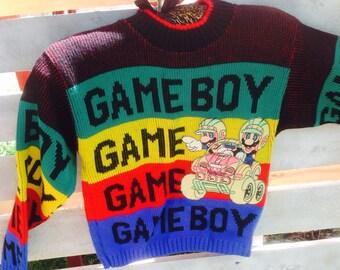 VIntage 1991 NINTENDO MARIO WORLD,Mario Go Cart Boys Sweater