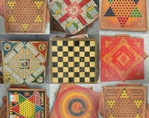 Vintage game boards, Chinese checkers, parchese, checkers