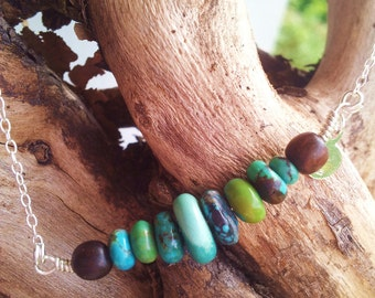 """Necklace: """"La madrague"""" silver necklace 925 and superb turquoise stones"""