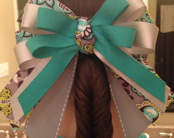 Teal and Gray Grosgrain Bow