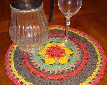 Large Placemat, Mandala Style -Cotton Crochet in Rustic Colors
