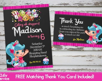 Shopkins Birthday Party Invitation Printable Shopkins Shoppies Birthday Party Invitation Shopkins Invite Shopkins Thank You Card Printable