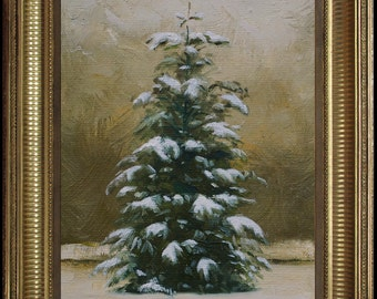 The Christmas Tree, Winter Landscape Painting, First Snow, snow painting, Pine tree paintin, Christmas painting, Snow Landscape,