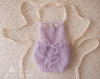 UK Seller,Pearl Grey Newborn Mohair Romper, Beaded Romper, Lace Detailing,,Newborn Girl,Photography props.