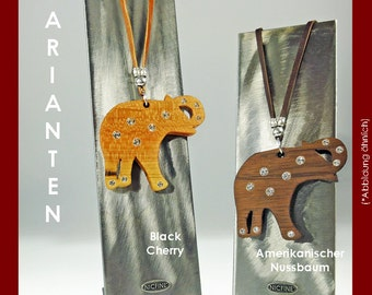 Elephant wooden with SWAROVSKI chain element