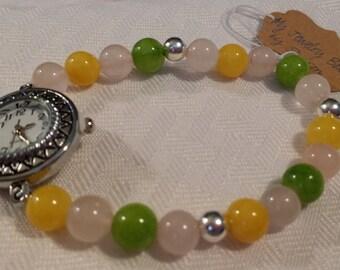 Yellow, Pink, and Green Glass Beaded Quartz Watch Bracelet