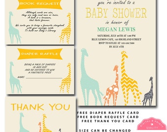 custom giraffe baby shower invitation, modern giraffe baby shower invitation, print yourself baby shower invitation