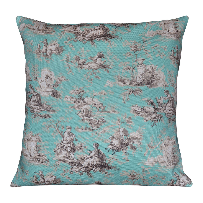 Spa Blue Throw Pillow Cover : Toile Spa Blue Cotton Decorative Envelope Throw Pillow Cover
