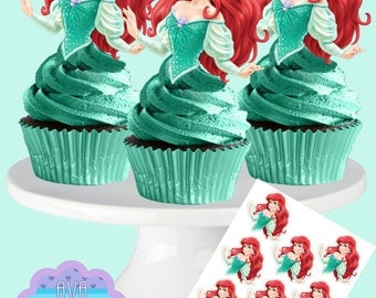 Princess ARIEL, The Little Mermaid, Cupcake Toppers, Cupcake Picks INSTANT DOWNLOAD