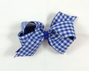 Classic Blue Gingham Bow