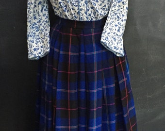 Keep Me Warm Vintage Blue Plaid Flannel Womens Skirt                                                            Free Shipping in Continental