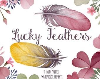 Watercolor clipart, feather clip art, flower clipart, wedding clip art, pink clover clipart, digital clipart, hand painted, floral clipart