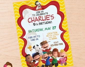 Peanuts invitation, Charlie Brown invitation, Snoopy invitation, peanuts, charlie brown, snoopy, digital invitation, printable invitation