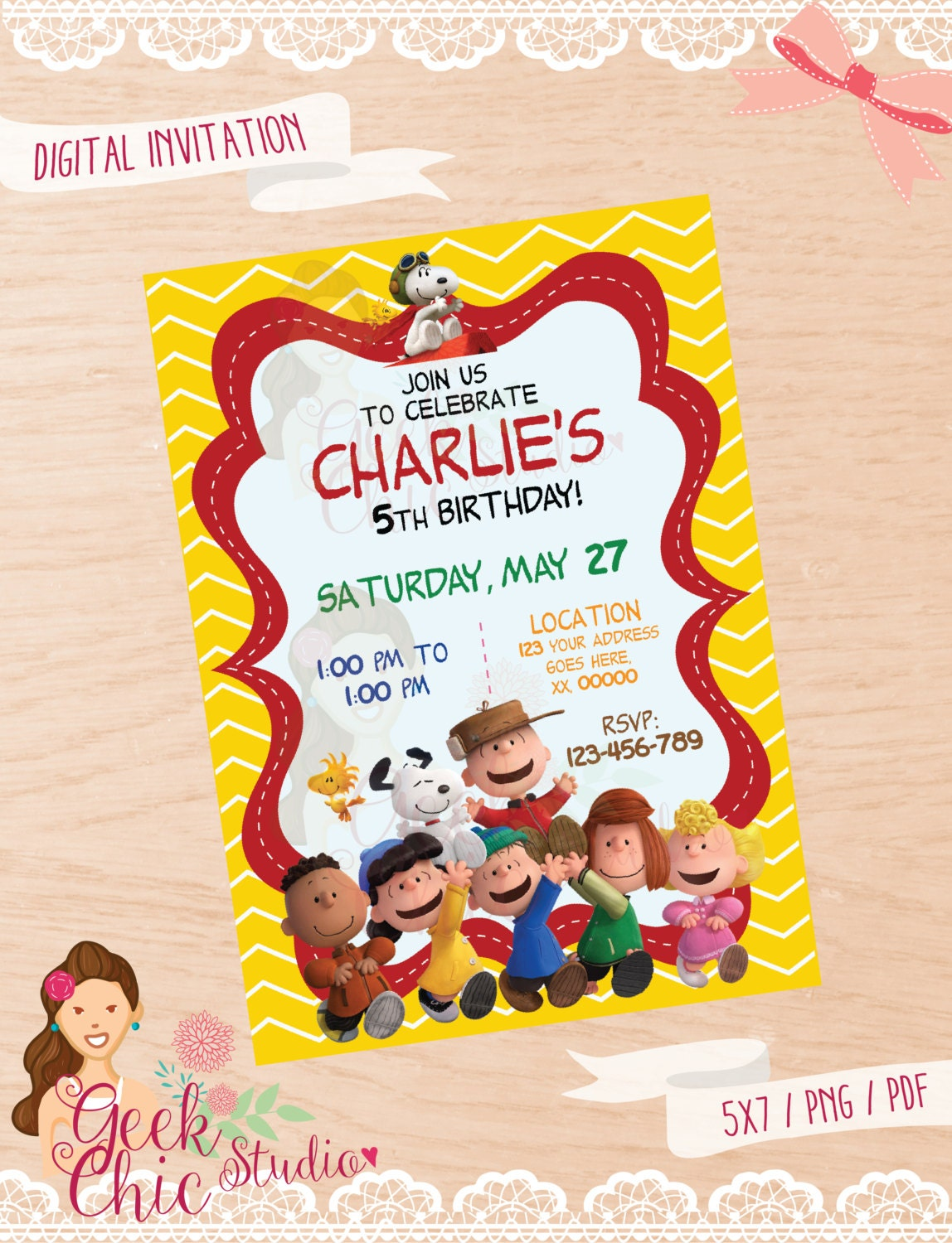 Peanuts invitation Charlie Brown invitation Snoopy – Snoopy Party Invitations