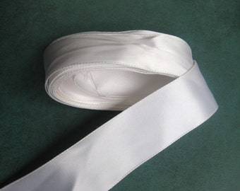 "Vintage Ribbon 5 1/4Yds. Quality White Satin 1 1/4"" wide Dolls Crafts Bears, Millinery Never Used"