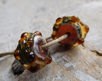 Pearls lampwork, Bohemian style, craft creation.