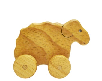 Sheep Dolly Wooden Rolling Toy Handmade Learning Toy on wheels for toddlers Montessori Wood Toy Waldorf Inspired Baby Shower Gift for kids