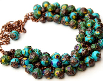 Women's necklace, Statement necklace, Beaded necklace, Polymer clay jewelry, Green and turquoise necklace, Handmade gift for women