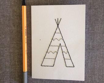 Teepee hand embroidered greetings card