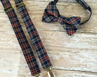 navy plaid suspender set, boys suspender set, Plaid suspender set, Toddler suspender set, babies suspender set, Wedding suspenders