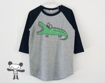 Crocodile tshirt toddlers children raglan shirt kids **boy girl clothes