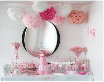 10pcs Tissue PAPER POM POMS hanging pom poms Wedding Party Baby Girl Room Nursery proposal Decoration