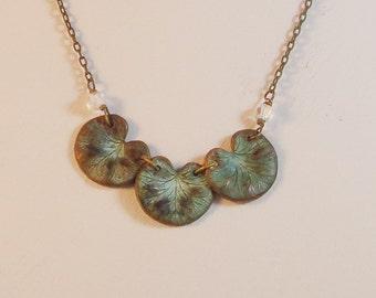 Delicate Lilypad Verdigris Necklace - Gorgeous!