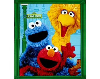 New!  Sesame Street Elmo & Friends 100% Cotton Quilt Panel by Quilting Treasures