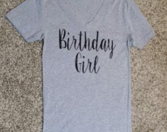 Birthday Girl Shirt, glitter, grey