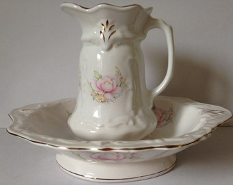 Small Staffordshire Oval Pitcher and Bowl Set