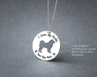 Personalised DISC SIBERIAN HUSKY Necklace / Circle dog breed Necklace / Husky Dog Necklace / Silver, Gold Plated or Rose Plated.